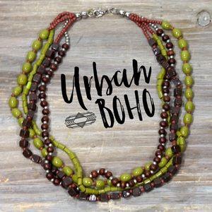 Multi strand beaded bohemian necklace pea green